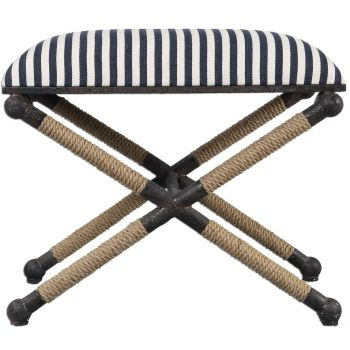 """Uttermost Braddock 23.75"""" Sailor Striped Cushion Bench in Rustic Iron"""