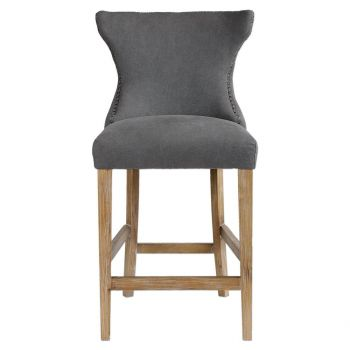 """Uttermost Gamlin 41"""" Stonewashed Gray Linen Counter Stool in Solid Birch"""