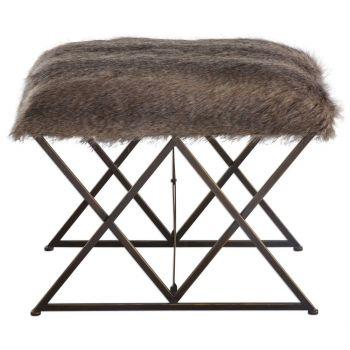 Uttermost Brannen Plush Animal Insprired Faux Fur Bench in Worn Black