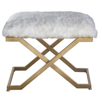 Uttermost Farran Soft White Faux Fur Bench in Antique Gold Leaf