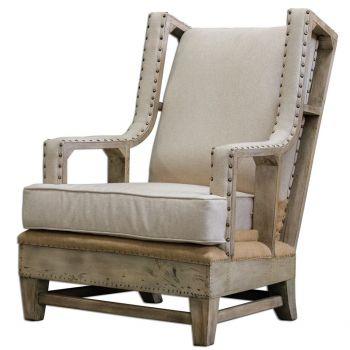 "Uttermost Schafer 44"" Neutral Linen Armchair in Aged White Mahogany"
