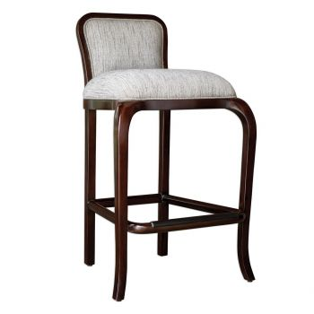 """Uttermost Tilley 42"""" Clay Subbed Weave Fabric Bar Stool in Mahogany"""