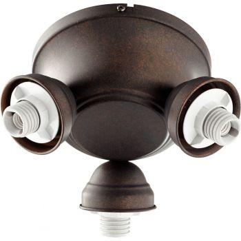 "Quorum Salon 8"" 3-Light Ceiling Fan Light Kit in Toasted Sienna"