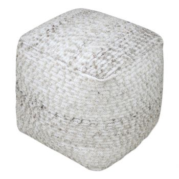 """Uttermost Valda 18"""" Textured Wool Pouf Ottoman in Neutral Beige/Gray"""