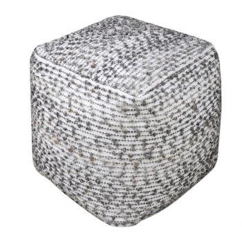 """Uttermost Valda 18"""" Textured Wool Pouf Ottoman in Gray/Neutral Beige"""