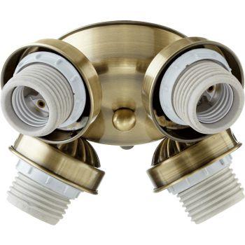 """Quorum Kit 7"""" 4-Light Ceiling Fan Light Kit in Antique Brass"""