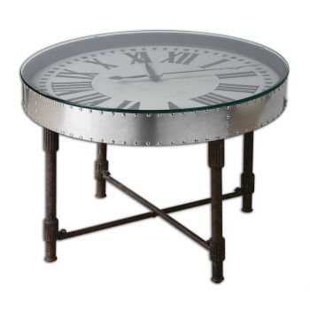 "Uttermost Cassem 30.5"" Vintage Upturned Clock Table in Rusted Patina"