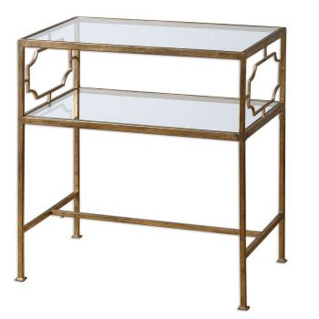 "Uttermost Genell 25.75"" Clear Tempered Glass Side Table in Gold Leaf"