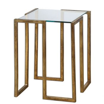 """Uttermost Mirrin 16.25"""" Clear Glass Accent Table in Antique Gold Leaf"""