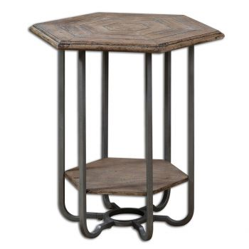 "Uttermost Mayson 25"" Wooden Accent Table in Weathered Tan/Steel Gray"