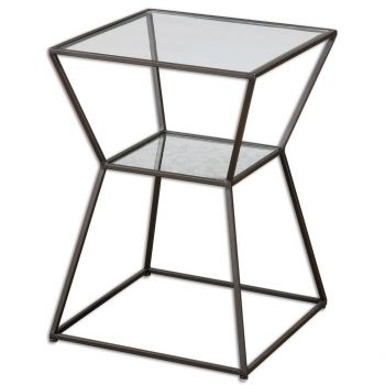 "Uttermost Auryon 16"" Clear Glass Top Accent Table in Black Iron"