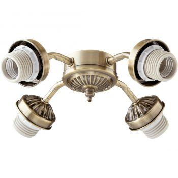 """Quorum Kit 10"""" 4-Light Ceiling Fan Light Kit in Antique Brass"""