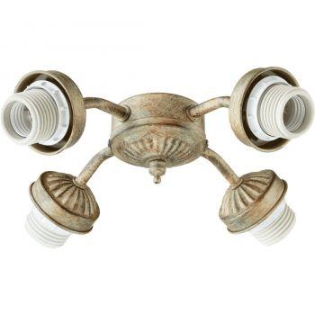 """Quorum Kit 10"""" 4-Light Ceiling Fan Light Kit in Mystic Silver"""