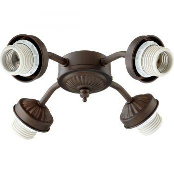 """Quorum Kit 10"""" 4-Light Ceiling Fan Light Kit in Oiled Bronze"""