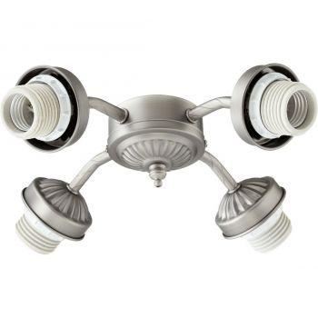 """Quorum Kit 10"""" 4-Light Ceiling Fan Light Kit in Antique Silver"""