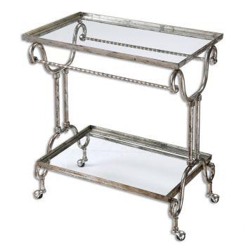 "Uttermost Acasia 32.5"" Clear Glass Shelf Tea Cart in Metallic Silver Leaf"