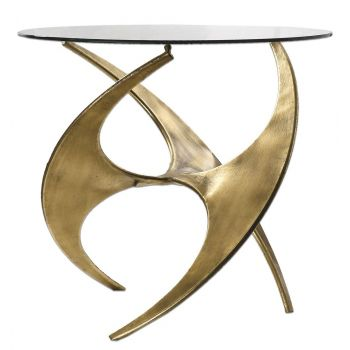 """Uttermost Graciano 28"""" Tempered Glass Top Accent Table in Antique Gold"""