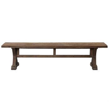 "Uttermost Stratford 76"" Salvaged Wood Bench in Stone Gray Wash"