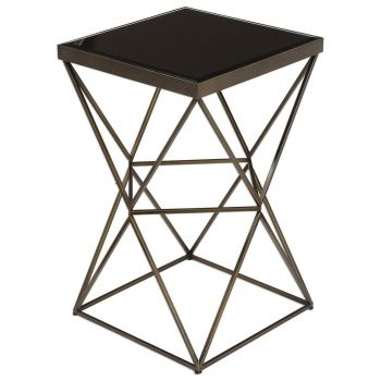 """Uttermost Uberto 15"""" Black Glass Caged Accent Table in Antique Bronze"""