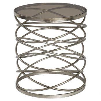 "Uttermost Marella 22"" Gray Glass Accent Table in Antique Silver Iron"