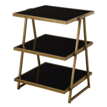 Uttermost Garrity Black Glass Accent Table in Antique Gold Leaf