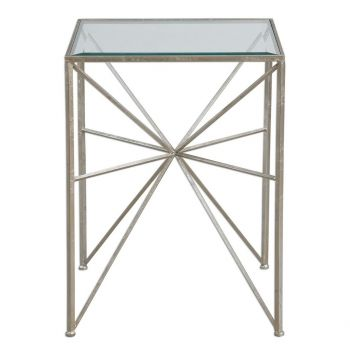 """Uttermost Silvana 24.5"""" Tempered Glass Side Table in Antique Silver Leaf"""