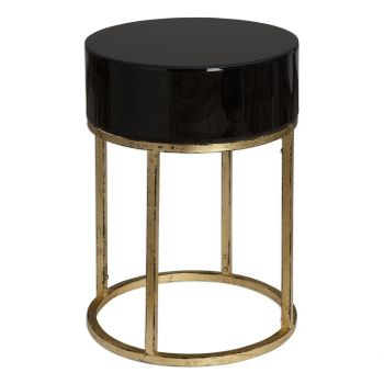 """Uttermost Myles 18"""" Curved Black Glass Accent Table in Antique Gold Leaf"""