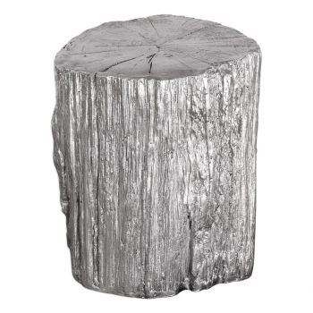 """Uttermost Cambium 17.5"""" Tree Stump Stool in Silver Leaf"""