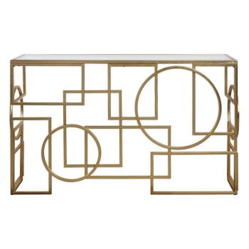 """Uttermost Metria 52"""" Clear Glass Console Table in Antique Gold Leaf"""