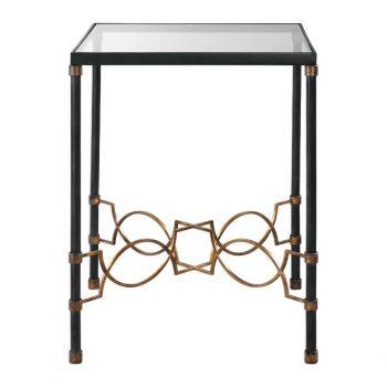 "Uttermost Josie 18.25"" Accent Table in Black Steel/Antique Gold"