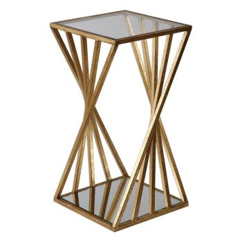 """Uttermost Janina 13"""" Clear Glass Dimensional Accent Table in Gold Leaf"""
