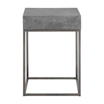 "Uttermost Jude 14"" Handmade Concrete Top Accent Table in Stainless Steel"