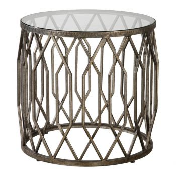 """Uttermost Algoma 23.25"""" Drum Style Accent Table in Aged Bronze"""