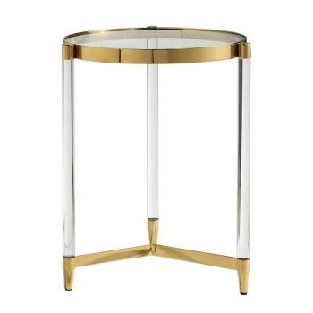 "Uttermost Kellen 16"" Accent Table in Gold Plated Stainless Steel"