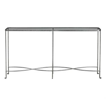 """Uttermost Aubrey 55.12"""" Console Table in Rust Tan Wash Silver"""