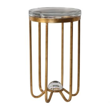 "Uttermost Allura 14"" Thick Round Glass Accent Table in Antique Gold Leaf"