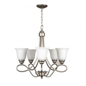 Craftmade Cordova 5-Light White Frosted Chandelier in Satin Nickel