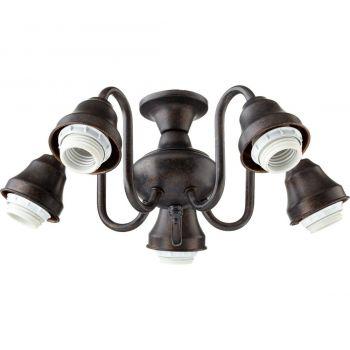 """Quorum Kit 14"""" 5-Light Ceiling Fan Light Kit in Toasted Sienna"""