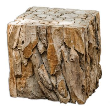 "Uttermost Teak Root 16.5"" Bunching Cube in Natural Teak Wood"