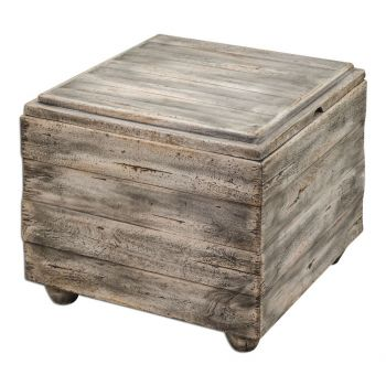 """Uttermost Avner 22.5"""" Wooden Accent Table in Waxed Driftwood"""