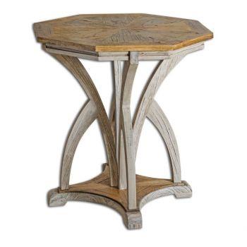 "Uttermost Ranen 28"" Accent Table in Golden Mango/Aged White"