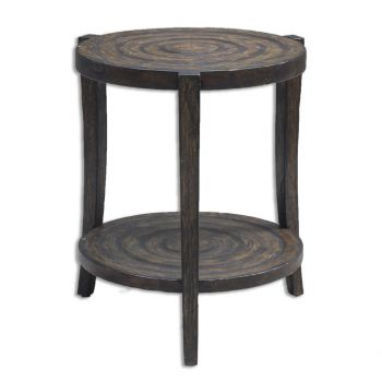 """Uttermost Pias 24"""" Rustic Accent Table in Smoked Java"""