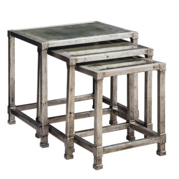 Uttermost Keanna Nesting Tables in Antique Silver (Set of 3)