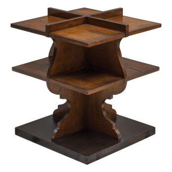 "Uttermost Niko 21"" Mango Wood Accent Table in Warm Honey/Worn Black"