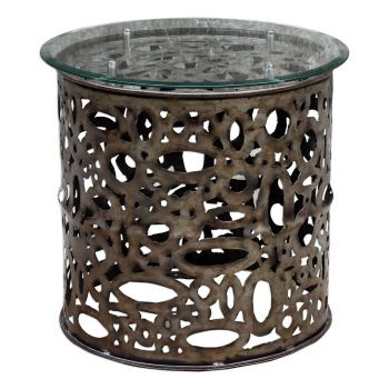 """Uttermost Zama 25"""" Beveled Glass Accent Table in Burnished Steel"""