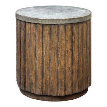 Uttermost Maxfield Pewter Top Accent Table in Vineyard Fruitwood