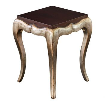 Uttermost Verena Dark Mahogany Top End Table in Champagne Silver Leaf