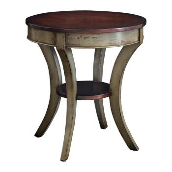 "Uttermost Loukas 28"" Lamp Table in Rich Mahogany"