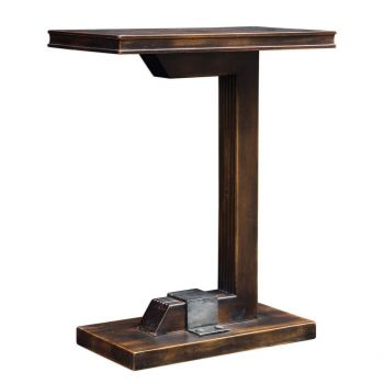 "Uttermost Deacon 22"" Accent Table in Worn Black/Honey"