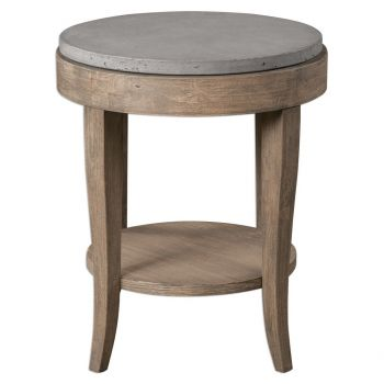 """Uttermost Deka 24"""" Accent Table in Brown and Natural Birch Wood"""